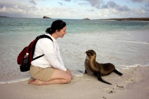 Emily & sea lion pup